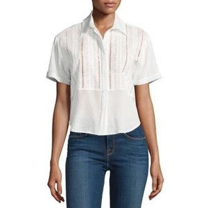 FRAME Cropped Button-Front Eyelet Boxy Top